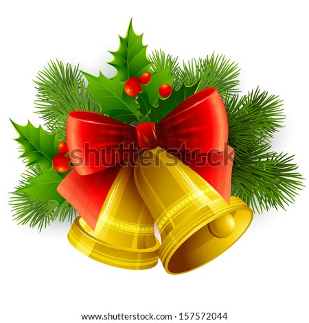 Background with Christmas bells - stock vector
