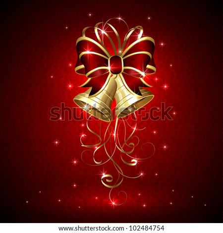 Background with Christmas bells and seamless wallpaper, illustration. - stock vector