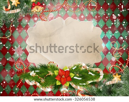 Background with Christmas bells, bow, snowflakes. EPS 10 vector file included - stock vector