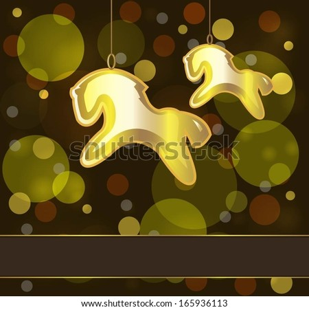 background with Christmas decorations in the form of a horse