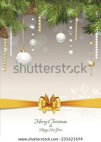 Background with Christmas fir tree and decoration