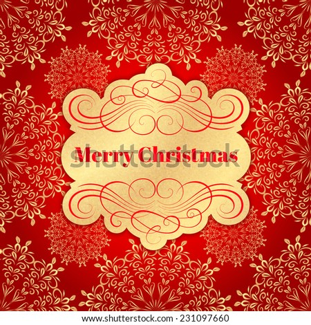Background with Christmas Label. Greeting Card - stock vector