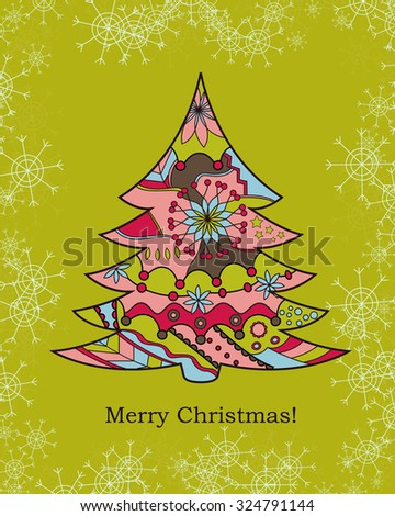 Background with christmas tree and snowflakes