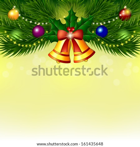 Background with Christmas tree. Branches of spruce with balls and bells on light yellow background. Vector illustration.