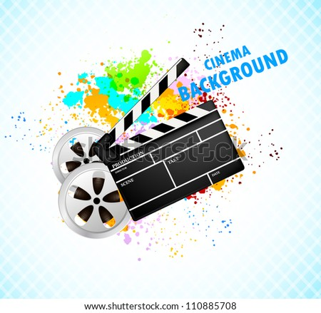 Background with cinema element - stock vector