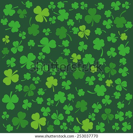 Background with clovers, St. Patrick's Day background (vector illustration) - stock vector