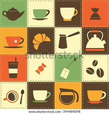 background with coffee and tea cup icons - stock vector