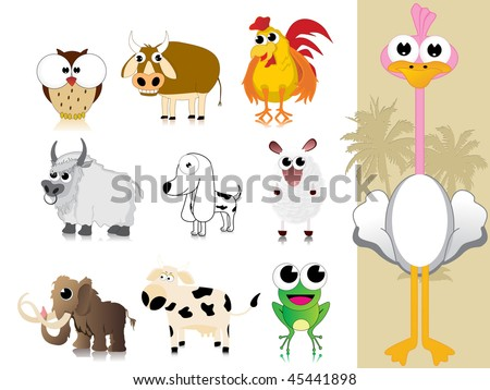 background with collection of cute animal - stock vector