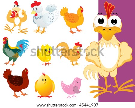 background with collection of cute colorful bird - stock vector