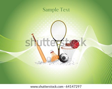 background with collection of sports object - stock vector