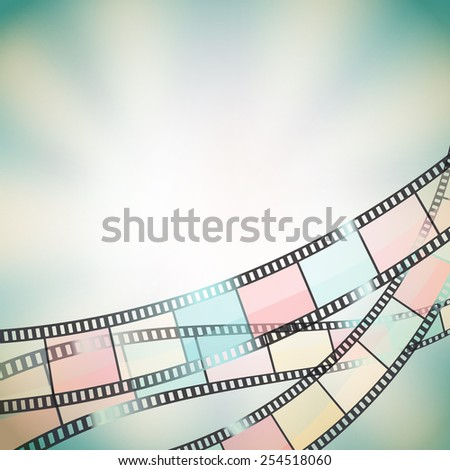 background with color film strip and stars - stock vector