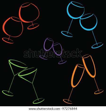 Background with color glasses of alcohol drinks - stock vector