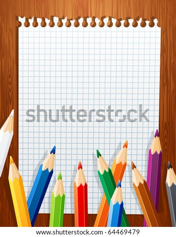 background with color pencils - stock vector