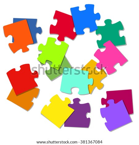 background with colored puzzles