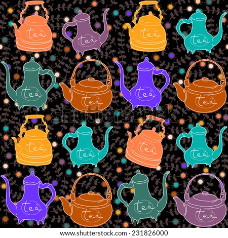 Background with colored teapots .Funny pattern - stock vector