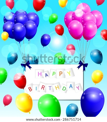background with colorful balloons   - stock vector