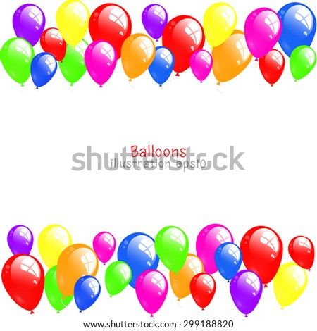 background with colorful balloons, Color background with glossy balloon - stock vector