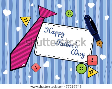 background with colorful button, tie and pen concept for father's day - stock vector