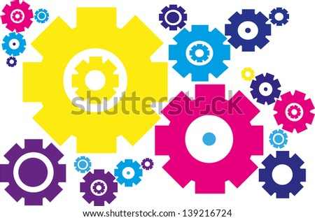 Background with colorful gears. - stock vector