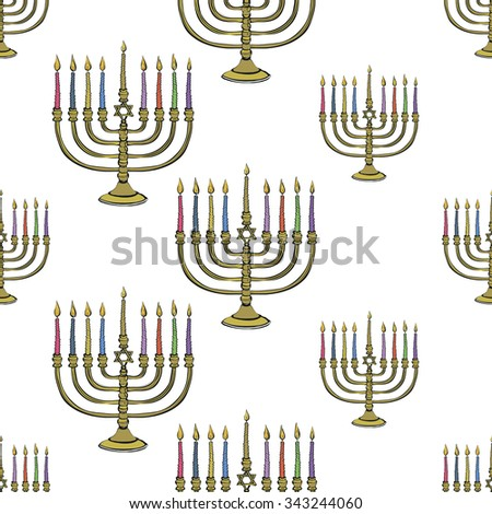 Background with colorful hand drawn hanukkah celebration candlestick symbol. Isolated chanukah ceremony decorative art element on transparent backdrop