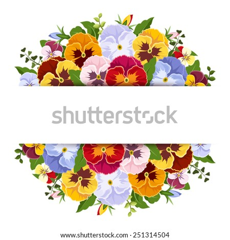 Background with colorful pansy flowers. Vector eps-10. - stock vector