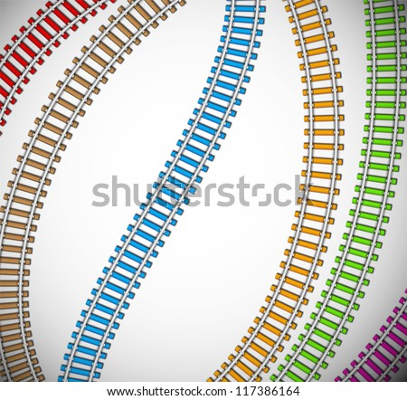 Background with colorful rails. Eps 10 - stock vector