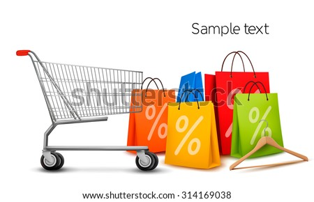 Background with colorful shopping bags and shopping cart. Discount concept. Vector illustration. - stock vector
