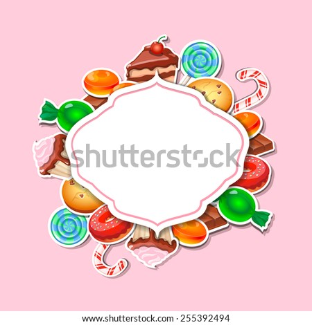 Background with colorful sticker candy,  sweets and cakes. Place for text - stock vector