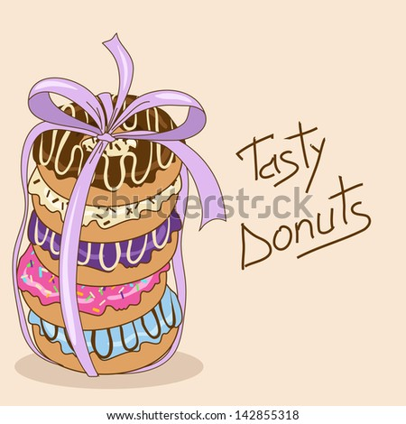Background with colorful tasty donuts - stock vector