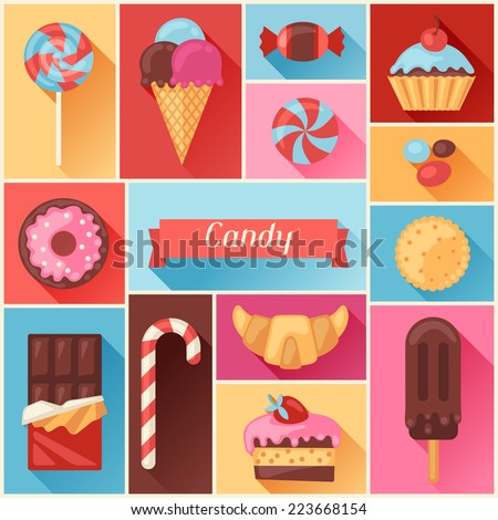 Background with colorful various candy, sweets and cakes. - stock vector