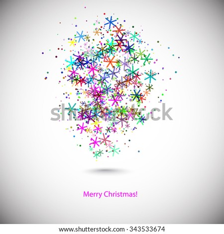 background with colors snowflakes for your design - stock vector
