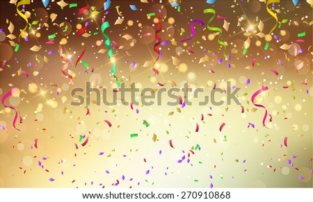 Background with confetti and streamers - stock vector
