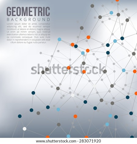 Background with connected lines and dots. Vector Illustration. - stock vector