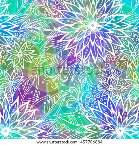 Background with Contours Floral Pattern, Symbolic Flowers and Leafs and Abstract Ornament. Eps10, Contains Transparencies. Vector - stock vector
