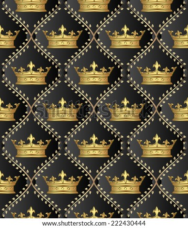 background with crowns or pattern seamless - stock vector
