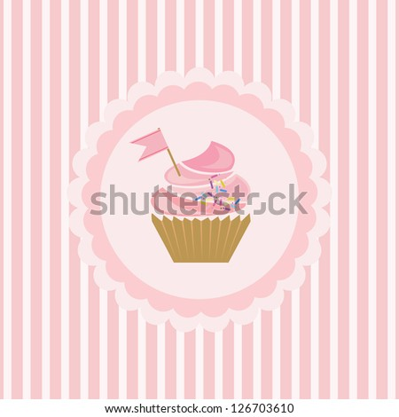 background with cupcake and decoration - stock vector