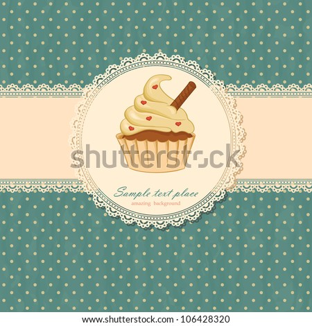 Background with cupcake and lace - stock vector