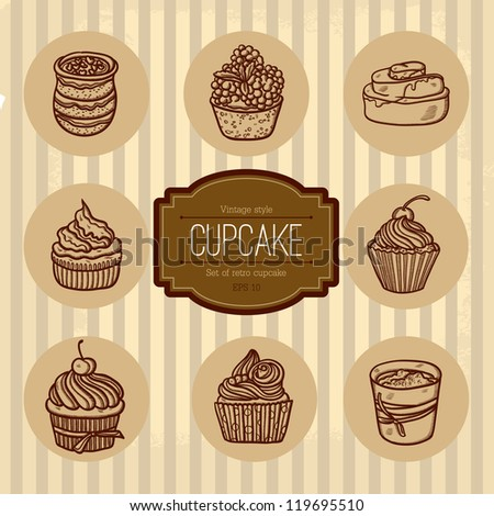 Background with cupcake and lace. Sweet Cupcake Set. Blue set of sweet cupcakes . Beautiful Vintage card with sweet cupcake. Retro style. Place for text. Isolated objects on grunge background.