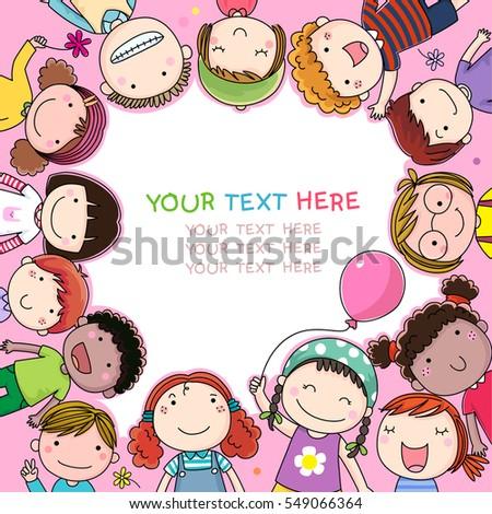 Background cute cartoon kids stock vector 549066364 shutterstock background with cute cartoon kids voltagebd Choice Image