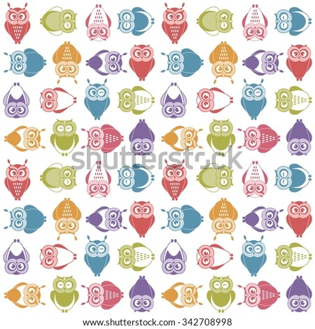 background with cute colorful owls - stock vector