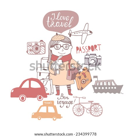 Background with cute girl to travel  - stock vector