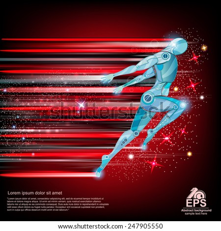 background with cyborg flying or runing with speed of light and motion blur track back for it - stock vector