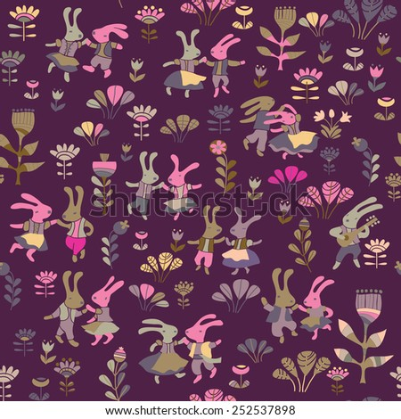 background with dancing rabbits - stock vector