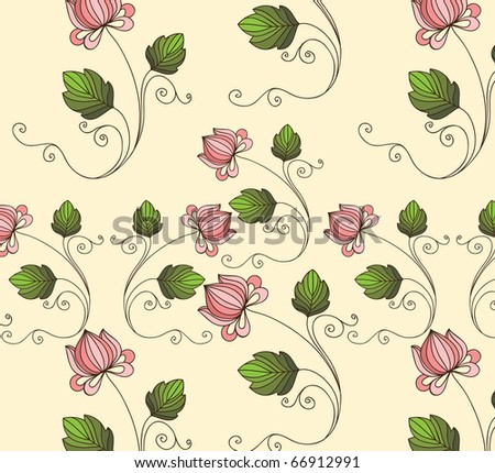 background with decorative fantasy flowers - stock vector
