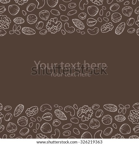 Background with different nuts. Cute simple linear template with mixed nuts.