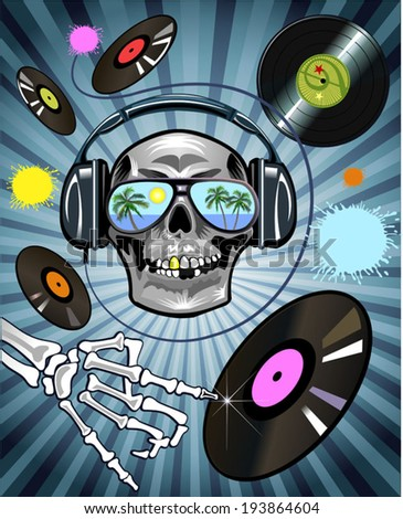 background with DJ skull and vinyl disc