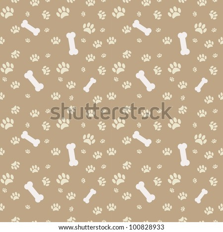 Background dog paw print bone stock vector 100828933 shutterstock background with dog paw print and bone voltagebd Gallery