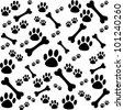 Background with dog paw print and bone.  Vector Illustration - stock photo