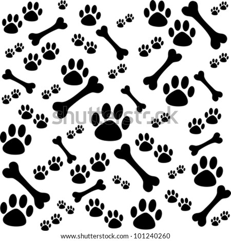 Background with dog paw print and bone.  Vector Illustration - stock vector