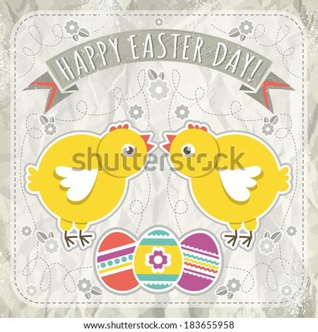 background with easter eggs and two chick, vector illustration - stock vector